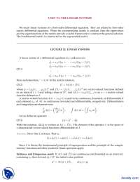 Linear Systems-Differential Equations and Their Solutions-Lecture Notes