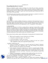 Responding Questions and Answers-Communication Skills-Lecture Handout