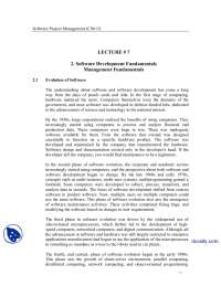 Software Development Fundamentals, Evolution Of Software-Software Project Management-Lecture Notes