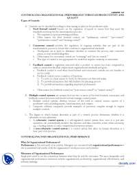 Controlling Organizational Performance Through Productivity And Quality-Principle of Managment-Handouts