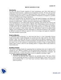 Architeture Part 1-Brand Management-Lecture Handout