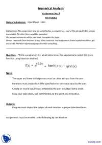 Bisection Method-Methods of Numerical Analysis-Assignment