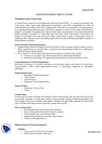Leading Virtual Teams-Leadership and Team Managment-Lecture Handout