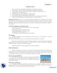 Introduction-Introduction to Public Administration-Lecture Handout