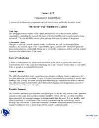 Components of Research Report-Marketing Research-Lecture Handout