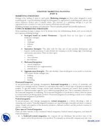 Strategic Marketing Planning Part1-Marketing Managment-Lecture Handout