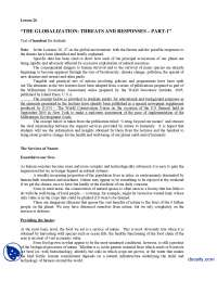 Threats and Responses Part 1-Globalization of Media-Lecture Handout