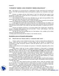Citizens Part 1-Globalization of Media-Lecture Handout