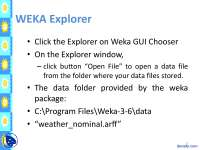 Introduction to WEKA Part 2-Data Warehouse-Lecture Handout