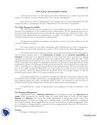 New Public Management-Introduction to Public Administration-Lecture Handout