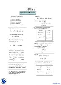 Operations on Functions-General Mathematics-Lecture Handout