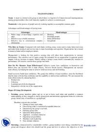 Team Dynamics-Leadership and Team Managment-Lecture Handout