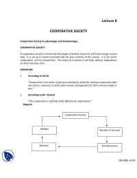 Cooperative Society-Introduction to Business-Lecture Handout