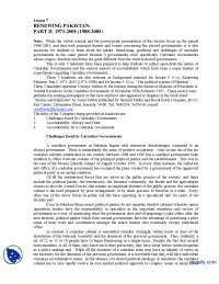 Renewing Pakistan Part 2-Globalization of Media-Lecture Handout