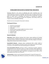 Consumer Behaviour and Marketing Research-Introduction to Business-Lecture Handout