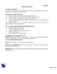 Marketing Tools Part 1-Advertising and Promotion-Lecture Handout