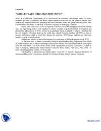 World Trade Organization-Globalization of Media-Lecture Handout