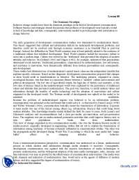 The Dominant Paradigm-Development Communication-Lecture Handout