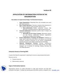 Application of Information system in Organizatio-Introduction to Business-Lecture Handout