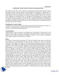 Communication and Cultural Globalization-International Communication-Lecture Handout