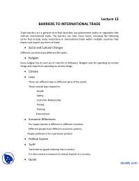 Barriers to International Trade-Introduction to Business-Lecture Handout