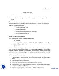 Franchising-Introduction to Business-Lecture Handout