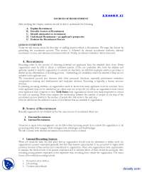 Sources of Recruitment-Human Resource Managment-Lecture Handout
