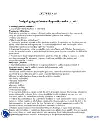 Designing a Good Research Questionnaire-Marketing Research-Lecture Handout