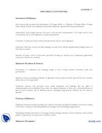 Diplomacy Lesson 11-International Relations-Lecture Handout