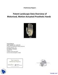 Patent Landscape Data Overview of Motorized, Motion Actuated Prosthetic Hands-Intellectual Property-Handout