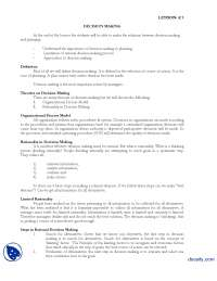 Decision Making-Introduction to Public Administration-Lecture Handout, Exercises for Introduction to Public Administration