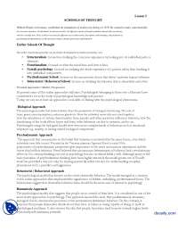 School of Thoughts-Introduction to Psycology-Lecture Handout