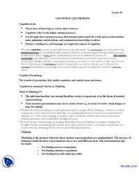 Cognition and Thinking-Introduction to Psycology-Lecture Handout