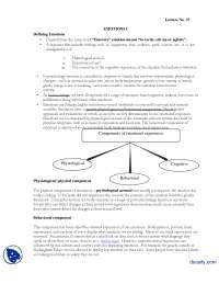 Emotions I-Introduction to Psycology-Lecture Handout
