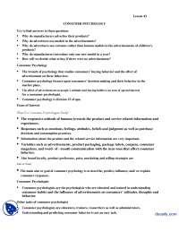 Consumer Psychology-Introduction to Psycology-Lecture Handout