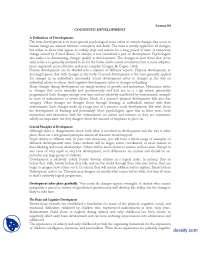 Cognitive Development-Educational Psycology-Lecture Handouts