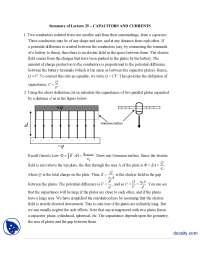 Capacitors And Currents-Classical Physics-Handouts