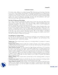 Introduction-Educational Psycology-Lecture Handouts