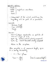 Ballistic Motion-Physics-Lecture Notes