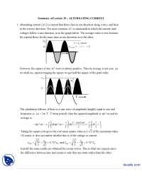 Alternating Current-Classical Physics-Handouts