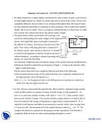 Waves And Particles-Classical Physics-Handouts