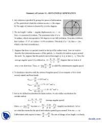 Rotational Kinematics-Classical Physics-Handouts