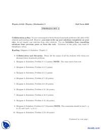 Collaboration And Discussion-Classical Physics-Assignments