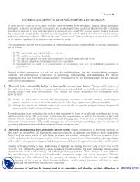 Common Assumptions Of Environmental Psychology-Environmental Psychology-Handout