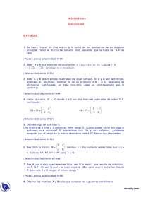 Matrices - Exámenes selectividad - Matemáticas