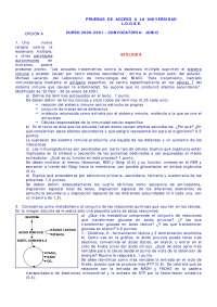 Prueba de acceso a la universidad - LOGSE - 16 - Exámenes - Biología