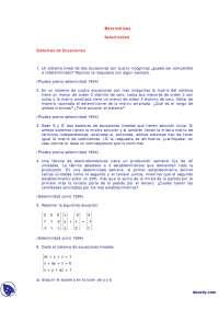 Sistemas de ecuaciónes - Ejercicios - Exámenes selectividad - Matemáticas
