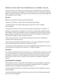 PERSUASION AND POLITENESS IN ACADEMIC TEXTS (Salvataggio automatico)