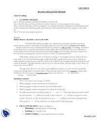 Reading Skills for Writers-Journalistic Writing-Lecture Handout