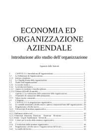 Organizzazione della gestione aziendale - appunti di Organizzazione Aziendale